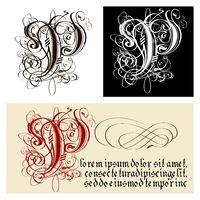 Decorative Gothic Letter P. Uncial Fraktur calligraphy.