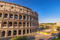 Rome Italy, city skyline at Rome Colosseum empty nobody