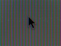 Macro shot of computer mouse pointer with RGB pixels visible
