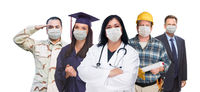Variety of People In Different Occupations Wearing Medical Face Masks Amidst the Coronavirus Pandemic