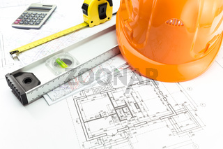 Architectural blueprints and work tool