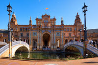 Plaza de España beautiful work of architecture most spectacular famous square in Seville spanish city. Sunny day, lot of tourists visited landmark, travel destinations concept. Andalusia, Spain