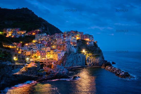 Manarola village in the night, Cinque Terre, Liguria, Italy