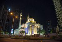 Mosque at night, Dubai, United Arab Emirates