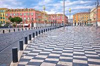 City of Nice Place Massena square colorful architecture view, tourist destination of Franch riviera