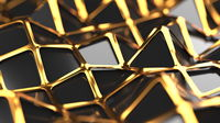The golden and polygonal lowpoly grille has a black reflective surface in a minimalist design. Abstract 3d illustration background. Selective focus macro shot with shallow DOF