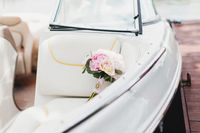 Luxury wedding bouquet in the white boat