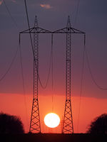 High voltage wires during sunset