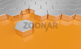 Sechseck Baustein Konzept - Silber Orange