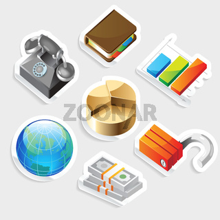 Sticker icon set for business metaphors