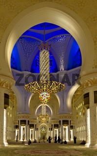 Abu Dhabi. United Arab Emirates. Interiors of the Sheikh Zayed Grand Mosque