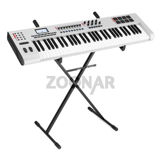 gray synthesizer on stand isolated on white background