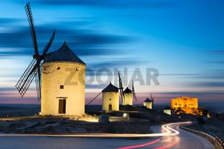 Windmills after sunset, Consuegra, Castile-La Mancha, Spain