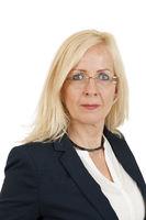 Portrait blonde middle aged woman