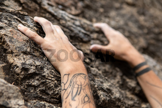 Hands of a traditional rock climber