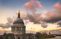 Dusk over St. Paul's Cathedral in Central London