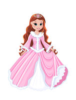 Little princess in a pink dress and with a diadem on her head