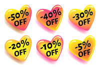 Glossy heart shaped discount stickers for design of advertising banners for web pages and prints, vector stickers with shadow isolated on white background.