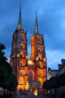 Illuminated Saint John Cathedral Church in Wroclaw
