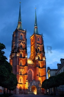 Illuminated Saint John Cathedral Church in Wroclaw