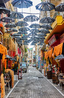 Street with bars and cafes in Athens