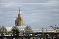 view of the academy of sciences and the old market in Riga
