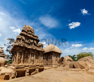Five Rathas - ancient Hindu monolithic Indian rock-cut architecture. Mahabalipuram