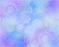 Blue mystic abstract mandala background, with purple color.