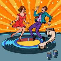 retro vinyl record A couple dancing. Music party