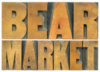 bear market word abstract in wood type