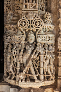 Stone carving in Ranakpur temple