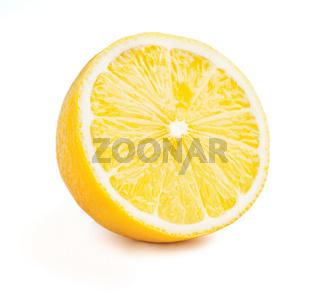 Lemon cut half slice isolated on white background