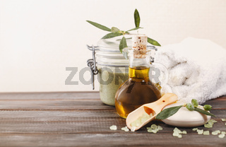 Olive oil cosmetics on table