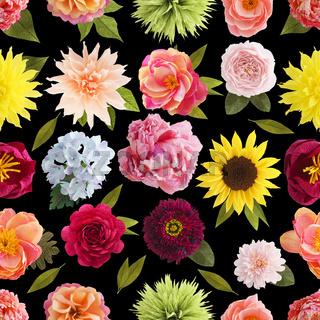 Crepe paper flower seamless pattern pastel colors