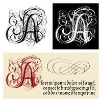 Decorative Gothic Letter A. Uncial Fraktur calligraphy.