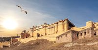 Amber Fort panorama, India, Jaipur, sunset view
