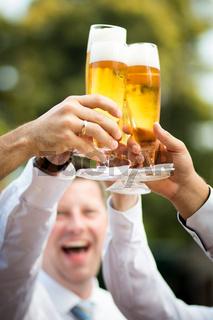 cheers clink of glasses wine beer toast