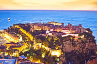 Monaco. Prince palace and old town on the hill in Monaco sunset view
