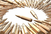 Golden bullets AK-47 cartridges laying on the white background in shape of circle. Danger hunt firearm concept 3d illustration