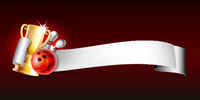 Bowling sport emblem with trophy cup, red glossy ball, bowling pins and white ribbon for lettering