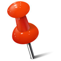 Realistic push pin in red color. Thumbtack