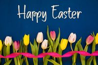 Colorful Tulip, Text Happy Easter, Ribbon, Blue Background