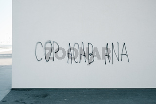 Cop acab ana graffitti lettering on a urban wall. Meaning is- all cops are bastards. Criminal violation and revolution concept.
