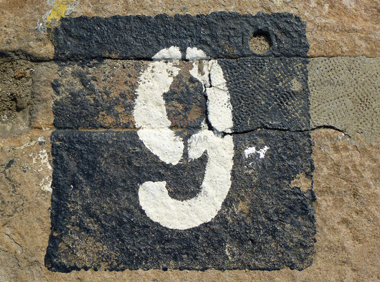 9 - weathered number