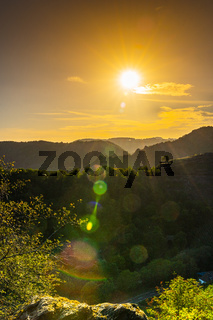 Sunset over the vineyards in the Ahr Valley