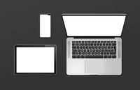Laptop, tablet and phone set mockup isolated on black. 3D render