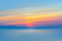 Sea sunset blurred background realistic vector illustration.