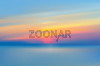 Sea sunset blurred background realistic vector illustration.