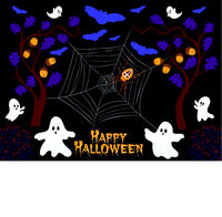 Happy Halloween party label/ invitation Composition with spooky bats, ghost, spider and spider net in a mystical forest before a black background. Vector illustration.