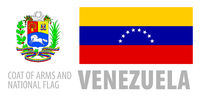 Vector set of the coat of arms and national flag of Venezuela